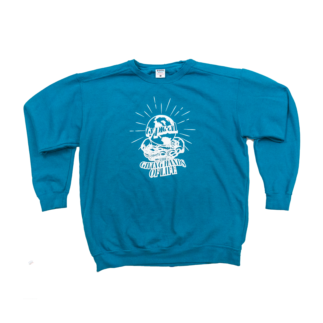Image of The Giving Hands Crewneck (Topaz Blue)