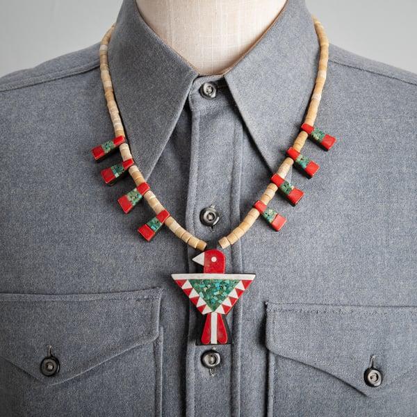 Image of Santo Domingo Battery Bird Depression Era Necklace with Gypsum beads Turquoise, scrap plastic