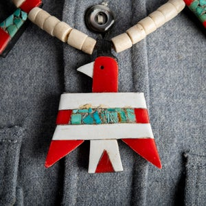 Image of Vintage c.1920-30's Santo Domingo Indian turquoise scrap plastic necklace with matching earrings