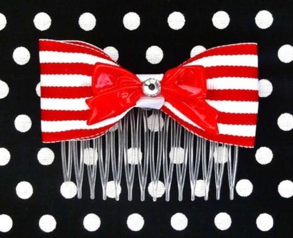 Image of SALE - 2 Colors - Vintage Cutie Stripes Hair Comb