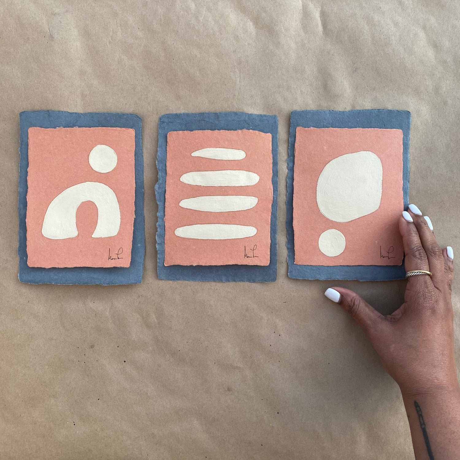 Image of ML • The Terra Cotta Shape Collection No. 3• Handmade Paper (set of 3)