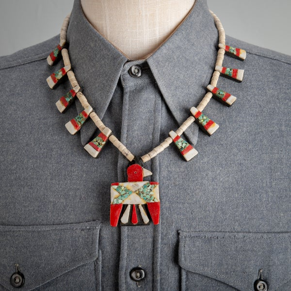 Image of 1930s Depression Era Santo Domingo Battery Bird Necklace 22 inch with Turquoise Chip Inlay White Gyp