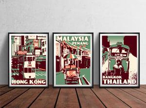 Image of Vintage poster Malaysia - Penang - Armenian Street - Fine Art Print