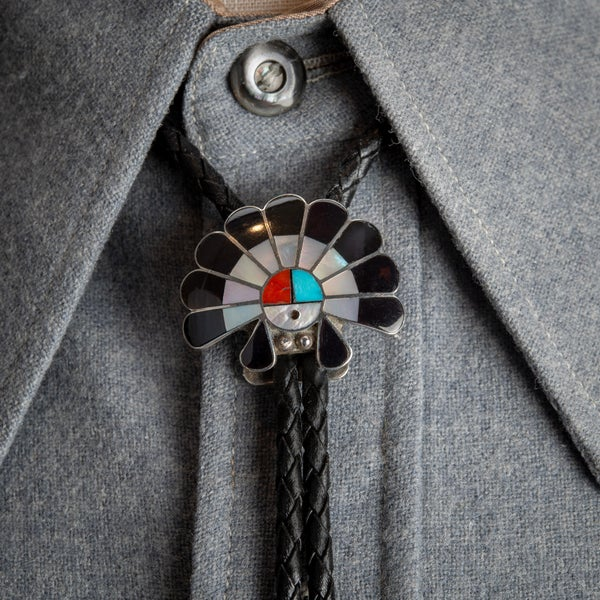 Image of Small Zuni Surface Bolo with Mother of Pearl Jet Turquoise and Red Coral on Sterling Silver