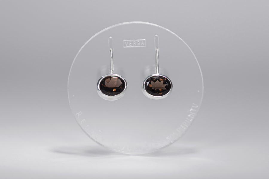"Image of ""To see your wish granted"" silver earrings with smoky quartz · VOTO POTIRI ·"