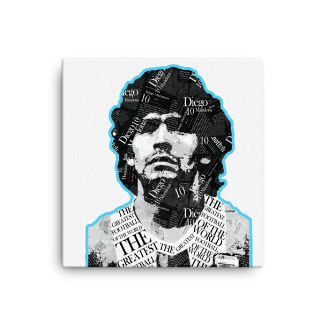 Image of 'Maradona' Paper Collage Art on Square Canvas