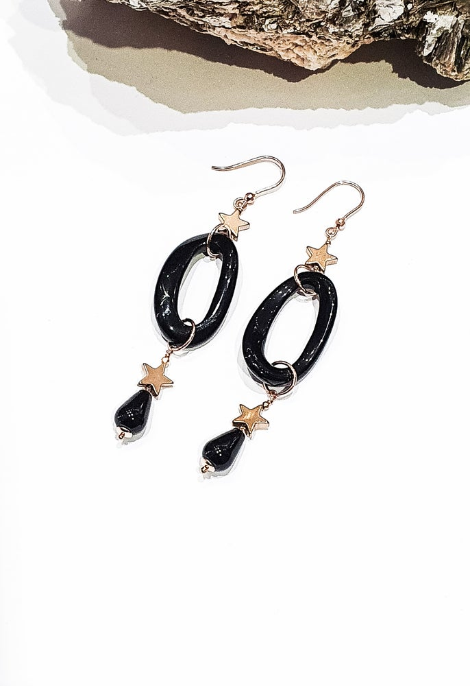 Image of Onyx Rose Gold Star Earrings
