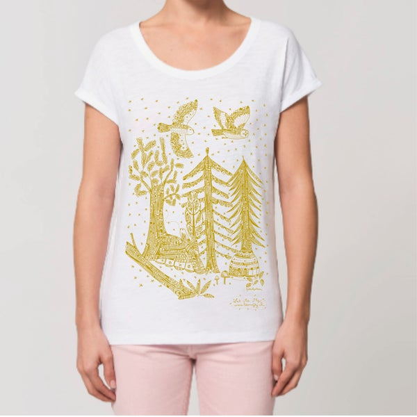 Image of T-shirt Femme Coton Bio *Gold Night*