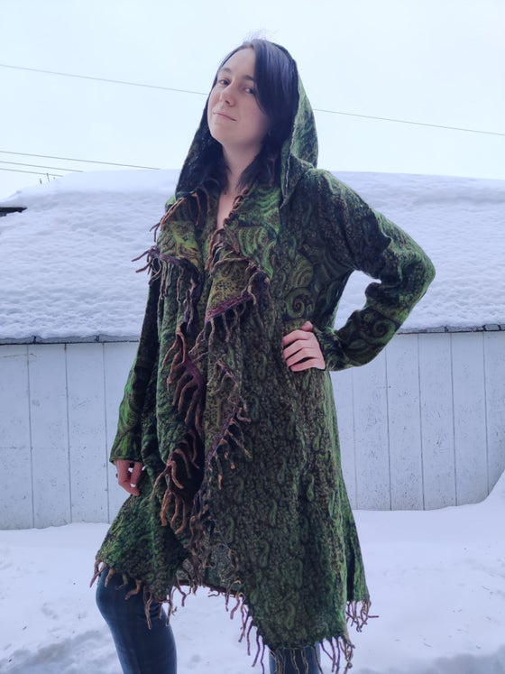 Image of Green Paisley Fringe Coat