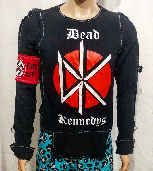 Image of Dead Kennedys black bondage shirt with arm band