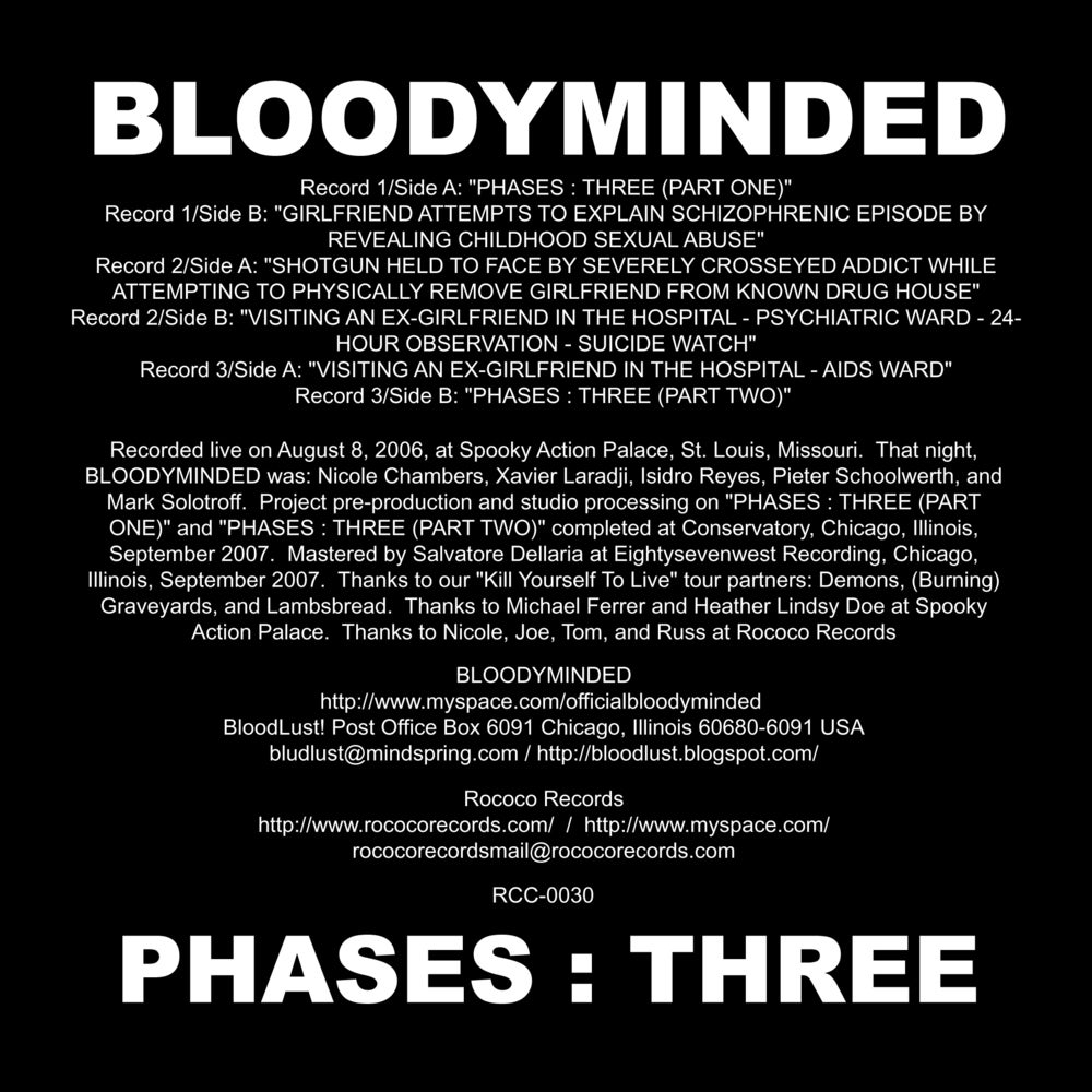 "BLOODYMINDED ""PHASES : THREE"" 3x7-inch Box Set (Rococo Records)"