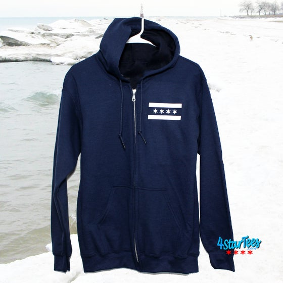 Image of CHI FLY Reflective Full-Zip Hoodie - Navy