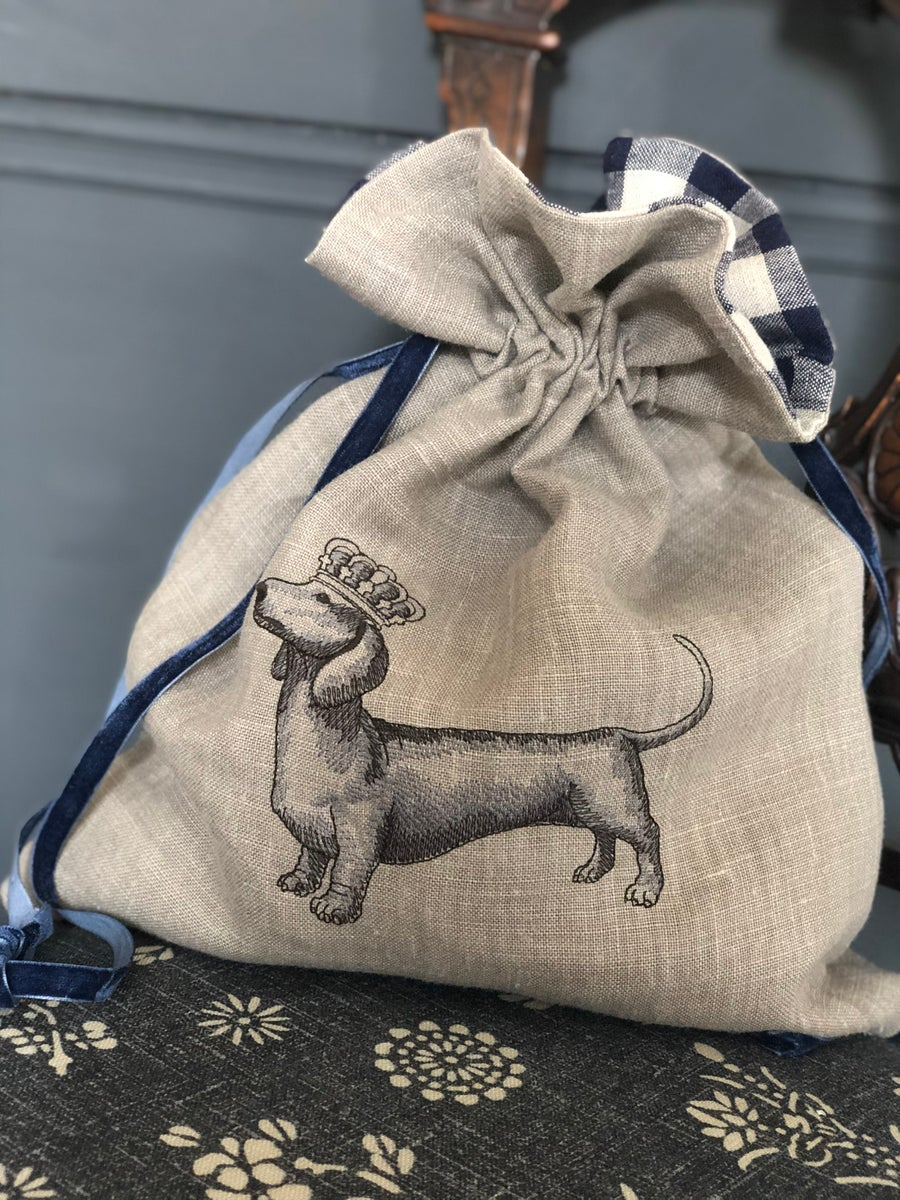 Image of Embroidered Dachshund Bag