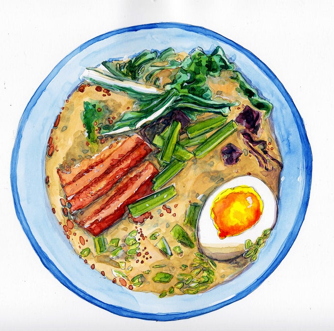 Image of Ramen in a nice blue bowl