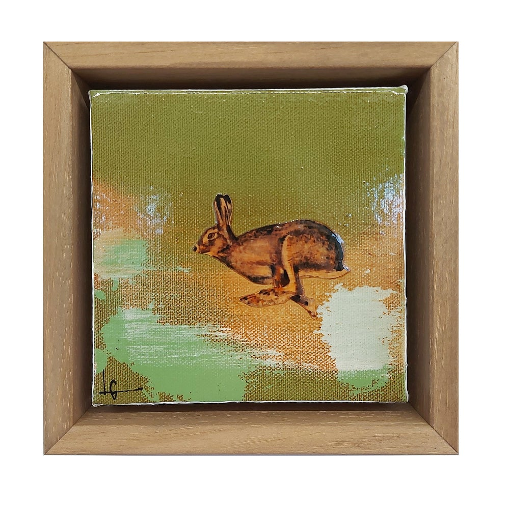 "Image of Original Canvas - Running Hare on Eau de Nil - 5"" x 5"""