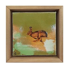 "Image of Original Canvas - Running Hare on Eau de Nil - 5"" x 5"""