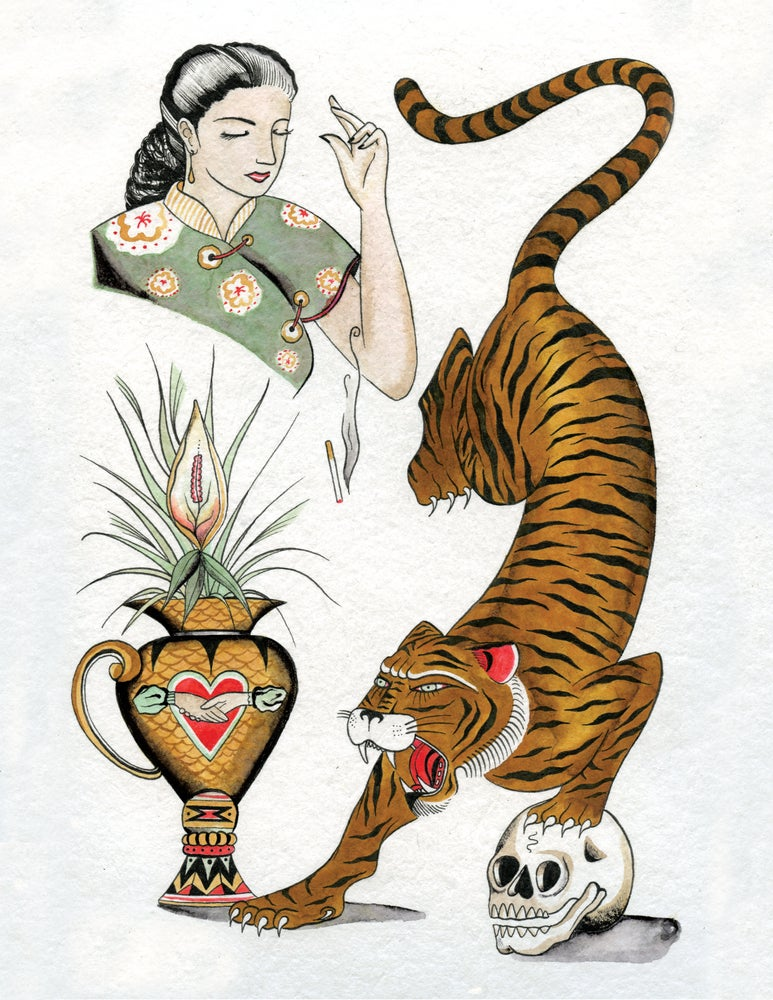 Image of Tiger & Smoking Lady (Print)