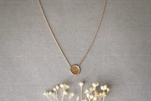 Image of 9ct Rose gold, Seal initial necklace