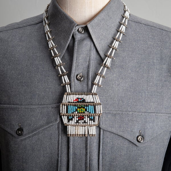 Image of 1950s Zuni Blue Thunderbird Safety Pin Seed Bead Necklace Folk Art 24 inches long