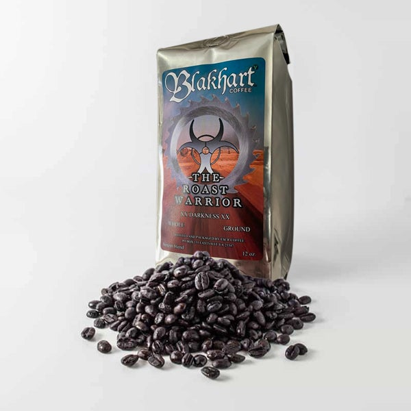 "Image of ""THE ROAST WARRIOR"" XX DARK BLEND WHOLE BEAN 12 OZ. SHINY AND KROM"