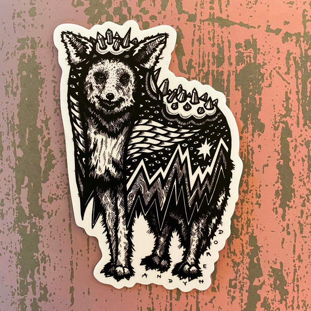 Image of Coyote in a Crystal Cloak Vinyl Sticker