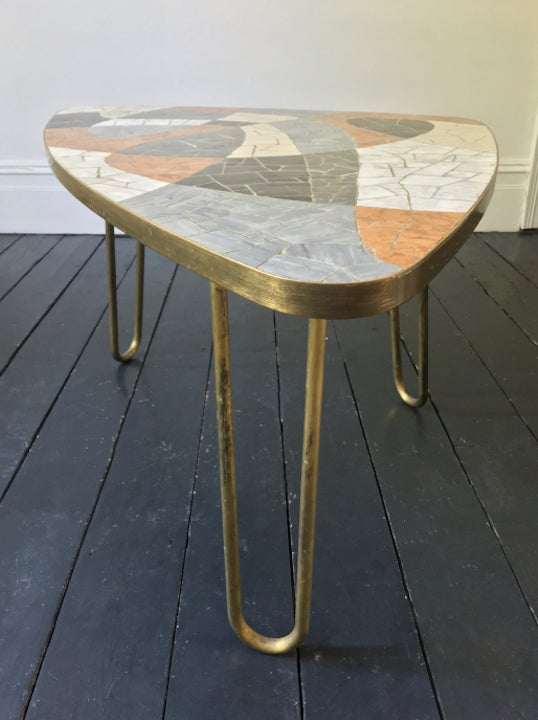 Image of TRADE SALE | Marble Mosaic Table with Brass Details
