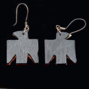 Image of Depression Era Santo Domingo Battery Bird Earrings with Chip Inlay Turquoise