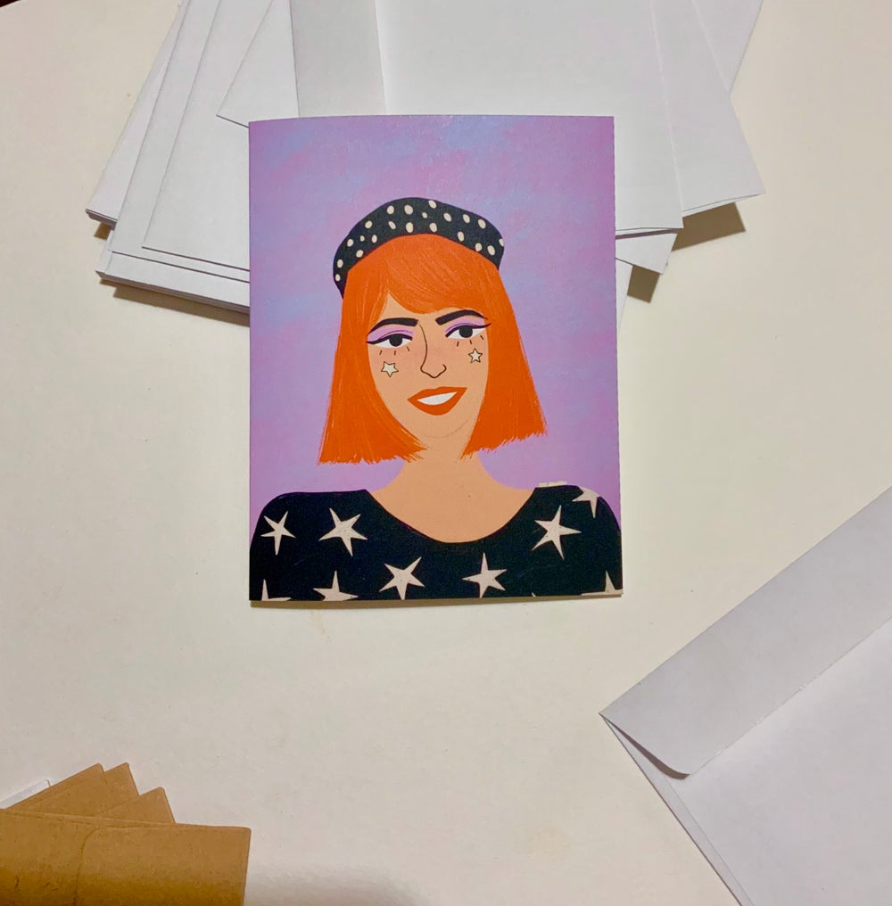 Image of The starry girl  greeting card