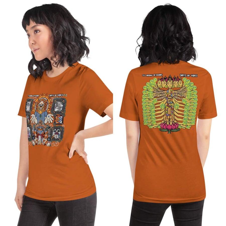 "Image of ""Days of Yore"" Unisex Short-Sleeve T-Shirt (Vinyl Slipcase Simulacrum w/ Front & Back JJJ Paintings)"