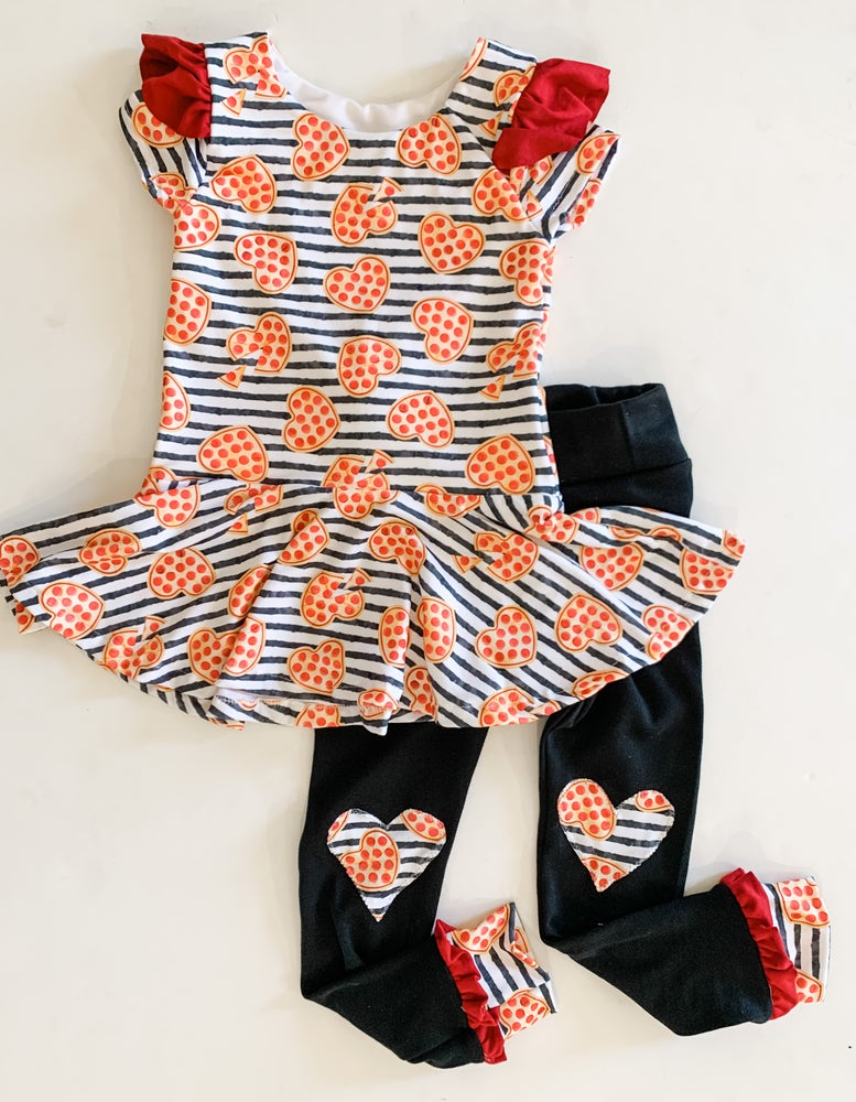 Image of Take a Pizza My Heart Peplum Top and Flutter Leggings