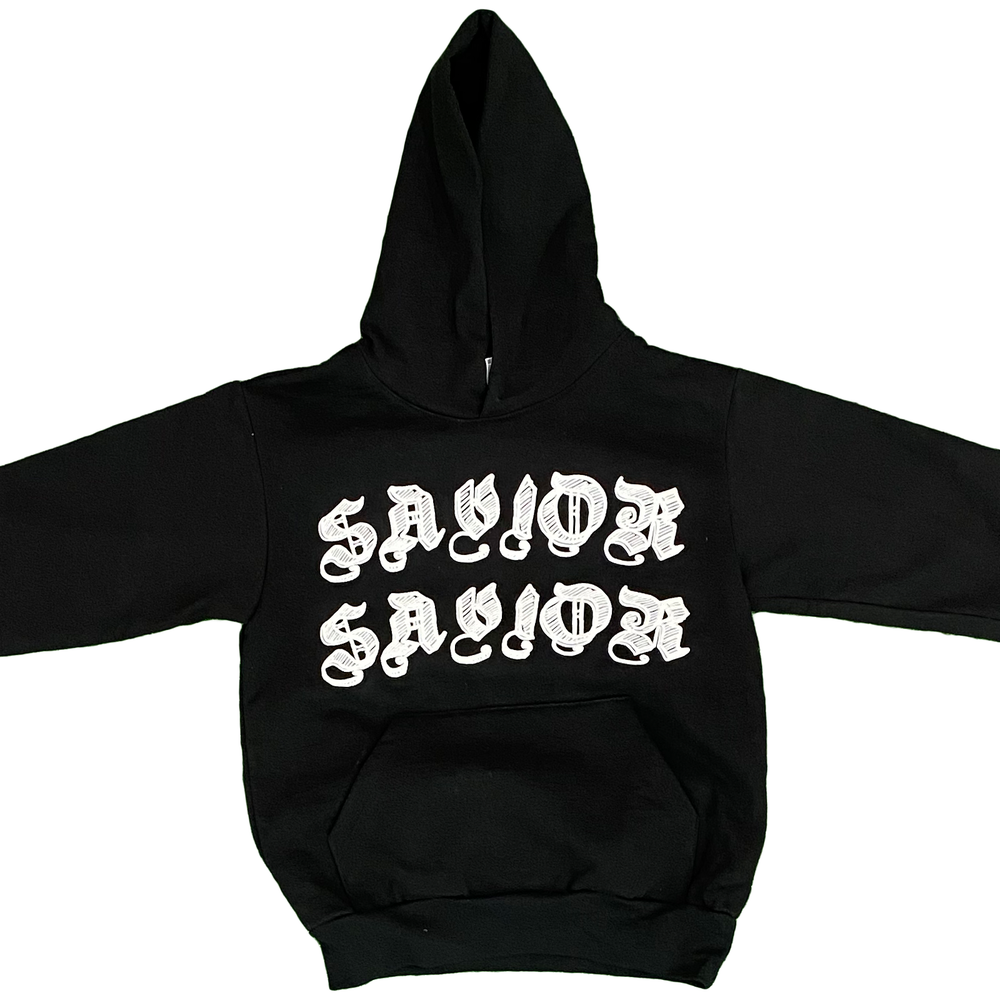 Image of SAVIOR WORLDWIDE HOODIE- BLACK WHITE
