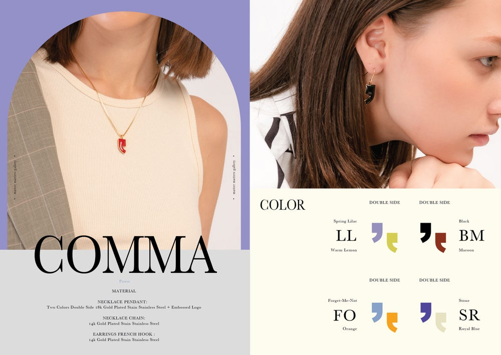 Comma Necklace • Pastel