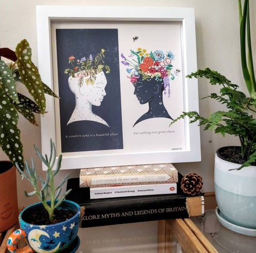 Image of Square Giclèe Print  | 'A comfort zone is a beautiful place, but nothing ever grows there.'