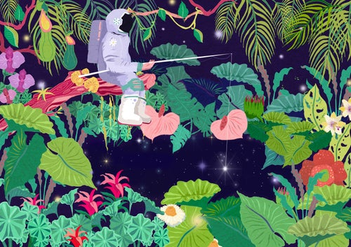 Image of  A4/3 Giclèe Print   Astronaut in the Rainforest
