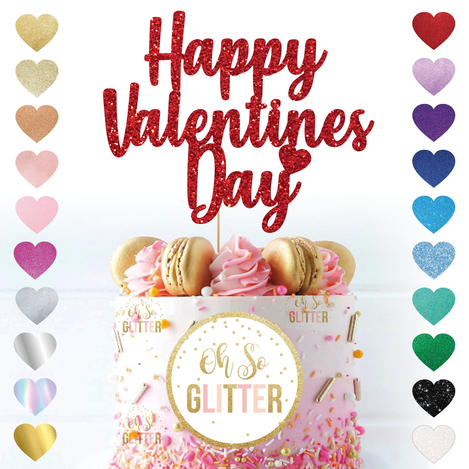 Image of Happy Valentines Day Glitter Cake Topper