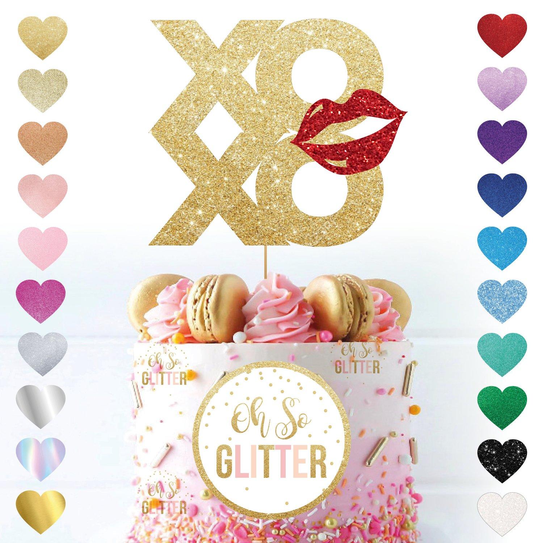 Image of Xoxo Valentines Kiss Glitter Cake Topper