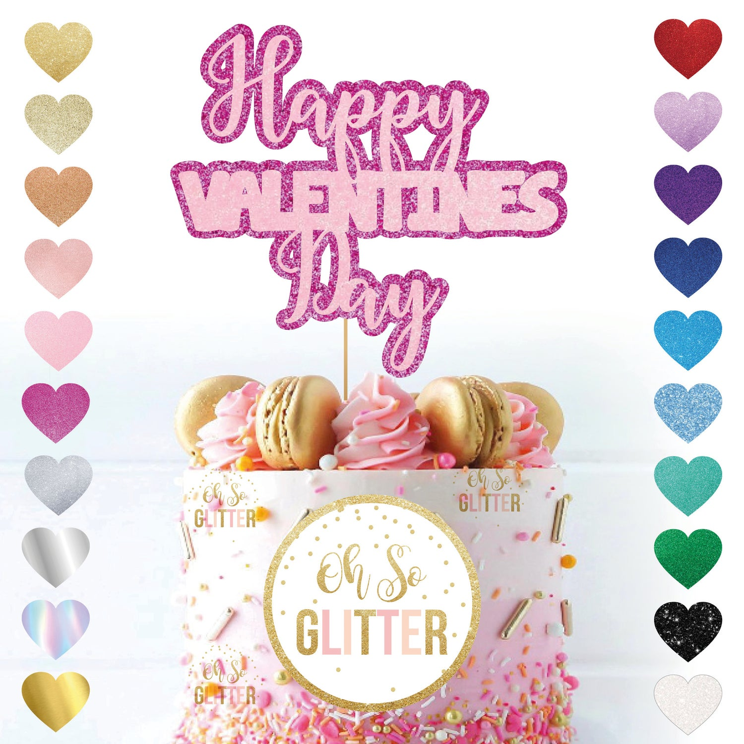 Image of Happy Valentines Day Double Glitter Cake Topper