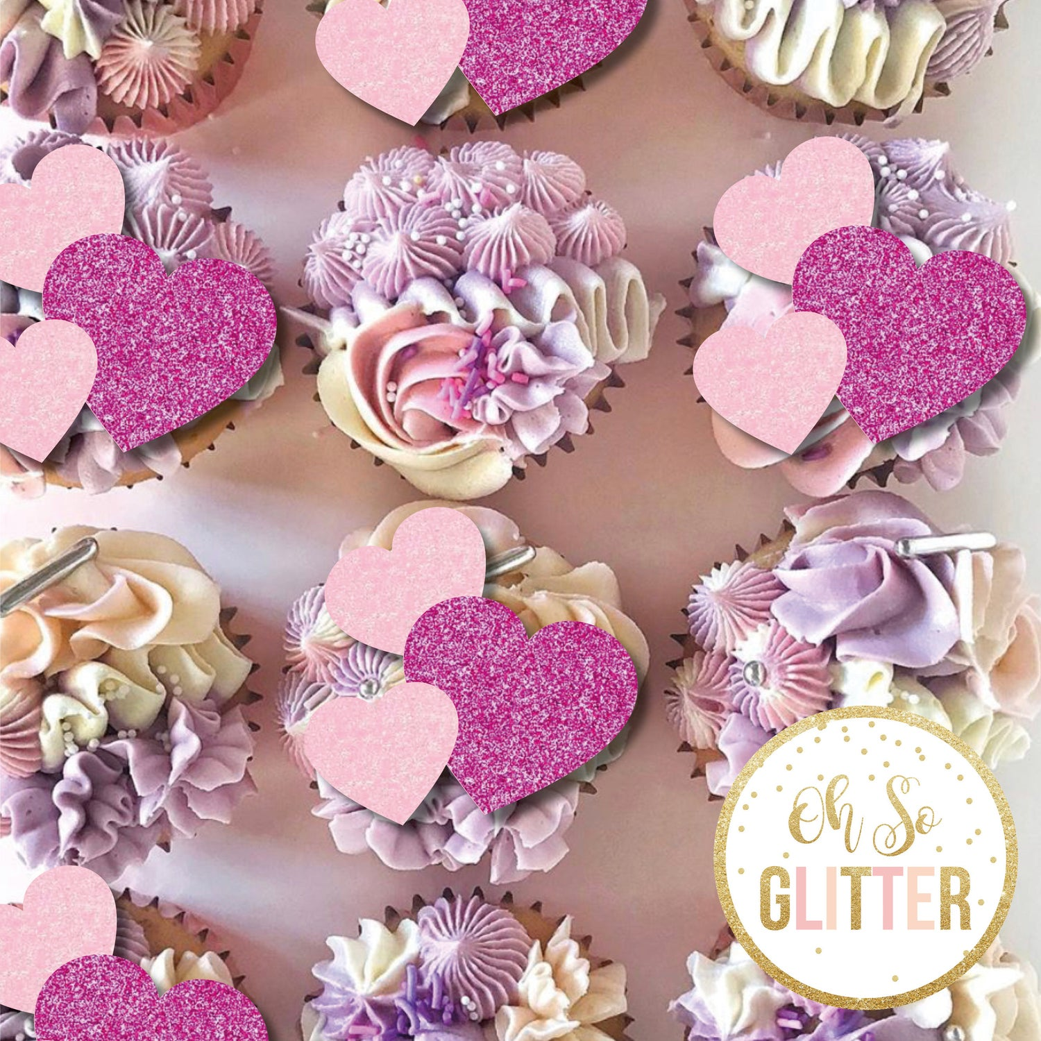 Image of Valentines Hearts - Cupcake toppers - no sticks
