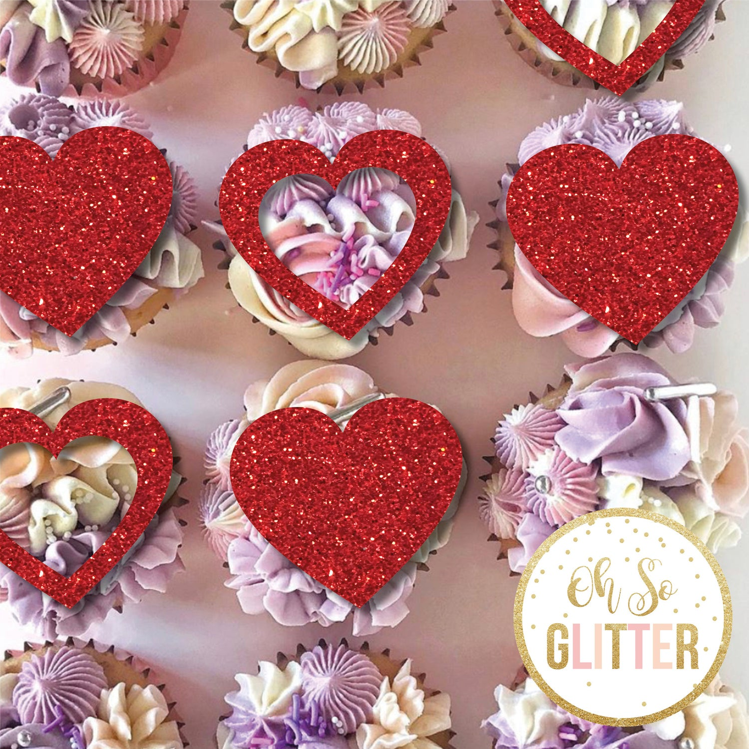 Image of Hearts Valentines Cupcake toppers - no sticks