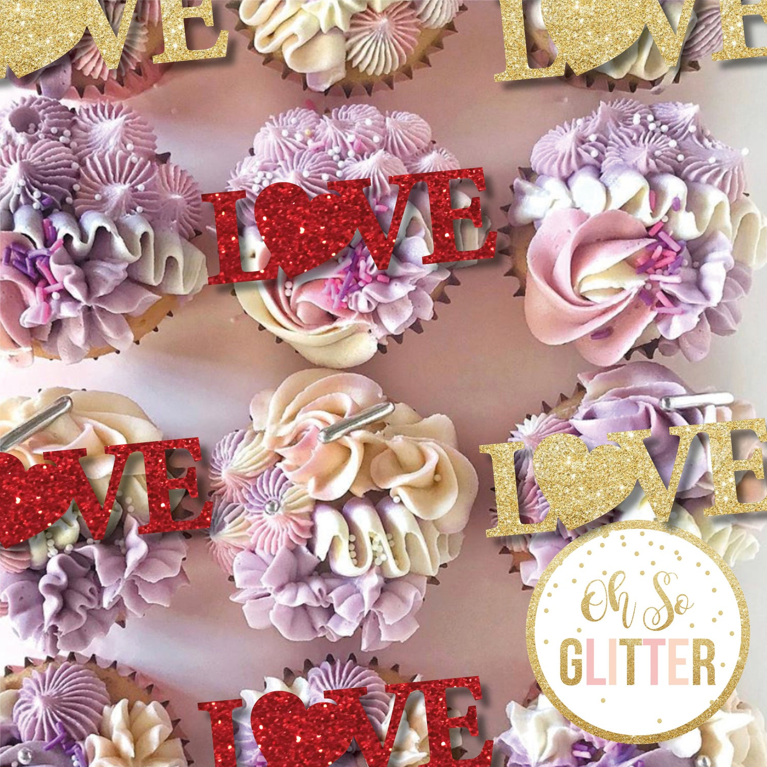 Image of Love With Heart - Valentines Cupcake toppers - no sticks