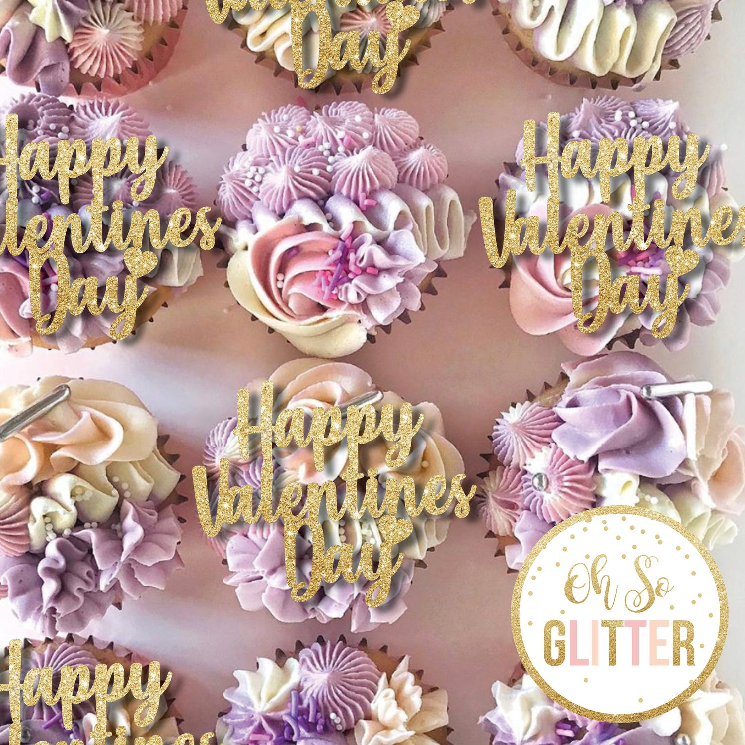 Image of Happy Valentines Day Cupcake toppers - no sticks