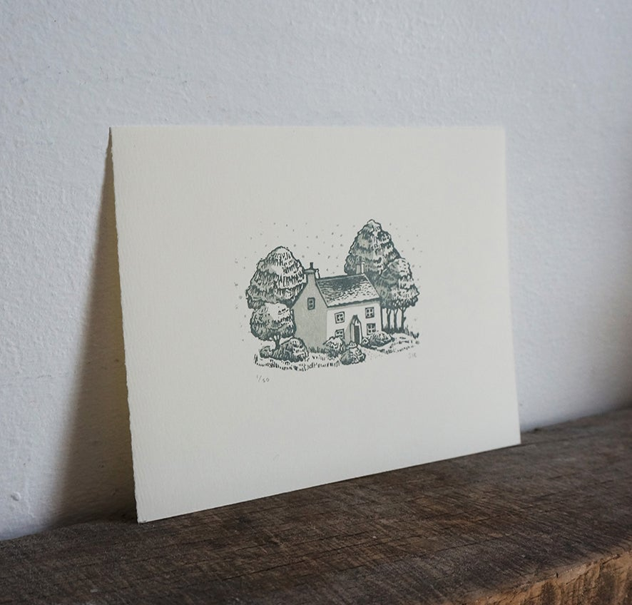 Image of Winter House - Linocut