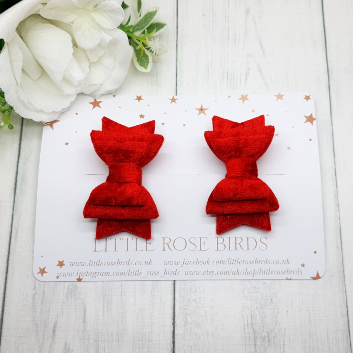 Image of Red Velvet Pigtail Bows