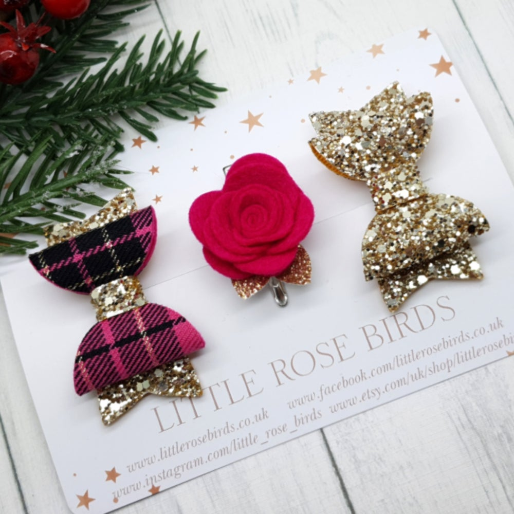 Image of SET OF 3 Pink Tartan & Flower Bow