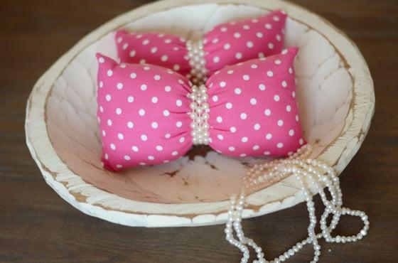Image of Polka dots bow pillow (dark pink)