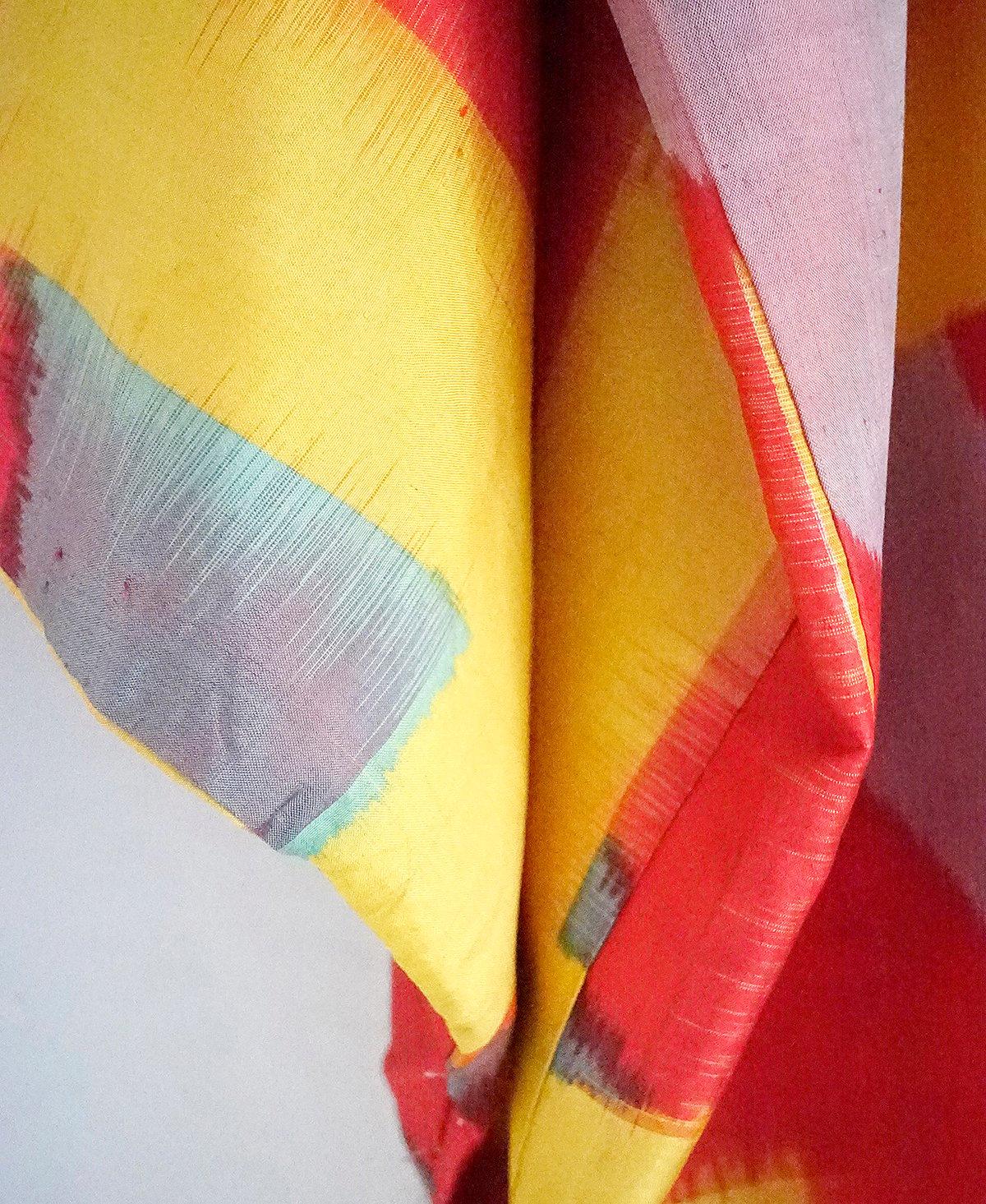Image of Kort kimono jakke i rød/gul meisen-vævning