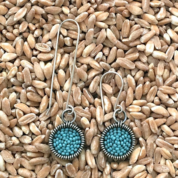 Image of Deep Frame Small Dot Earrings - 32 Colors Available