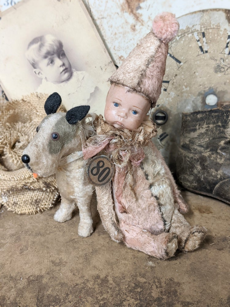 "Image of 7"" Darling Little Vintage Pink & Cream Shabby POPPET with 1970's dolly head by Whendi's Bears"