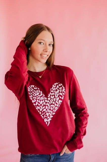 Image of Leopard heart long sleeve