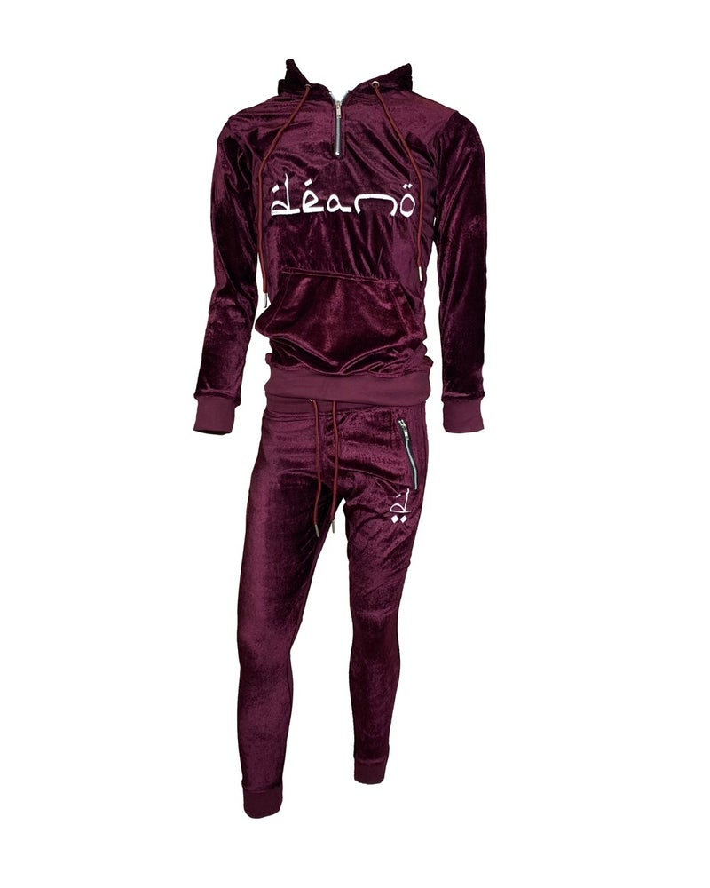 Image of Big Don Velour Sweatsuit Burgundy